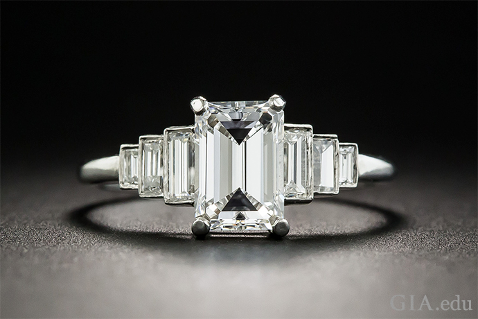 1.09 carat emerald cut diamond engagement ring featuring emerald cut side stones.
