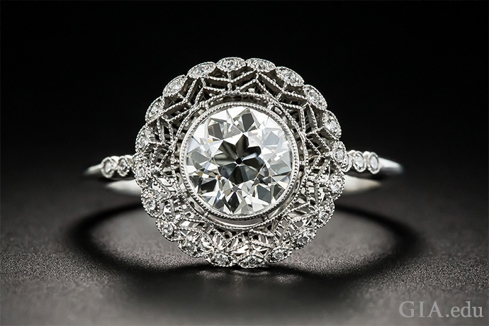 Edwardian era-inspired engagement ring featuring a 1.23 ct diamond set with delicate metalwork.