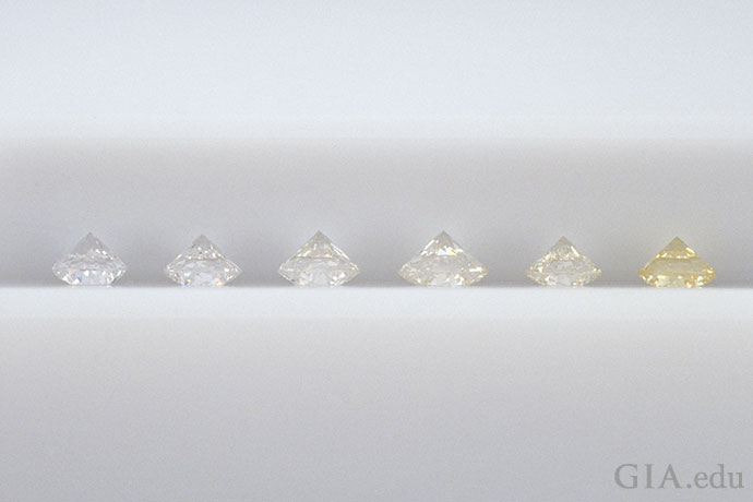 GIA diamond masterstone Series (Left to right): E, F, H-I, J-K, K-L, Z.