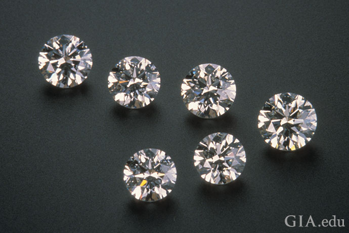The diamonds in this photo range from 0.75 ct to 1.01 carats.