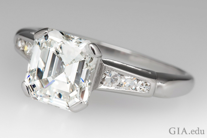 A 2.50 carat emerald cut diamond engagement ring set in platinum.