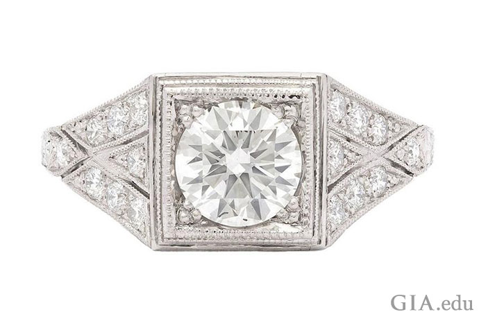 1.05 carat round brilliant antique diamond engagement ring.