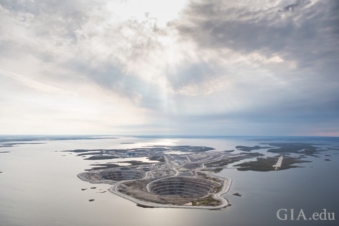 An aerial view of the Diavik Diamond Mine located in the middle of Lac de Gras in Canada.
