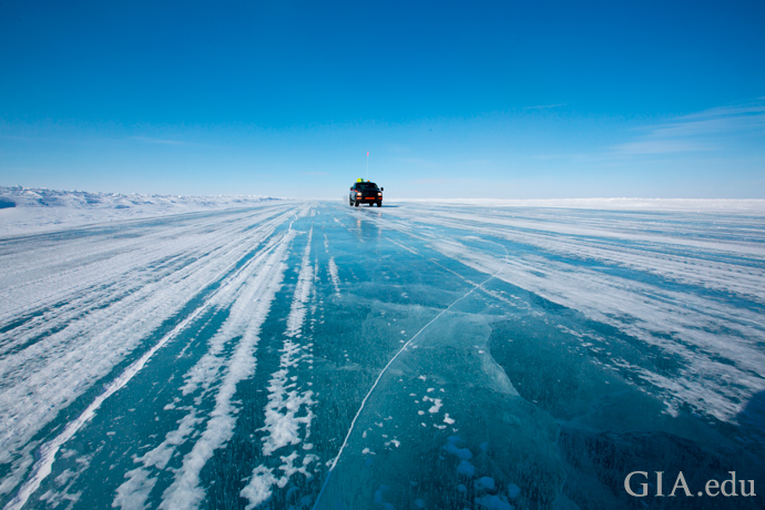 An ice road leading to a diamond mine in northern Canada.