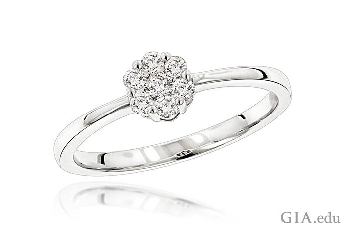 A diamond ring featuring 0.22 carats of diamonds that form a flower.