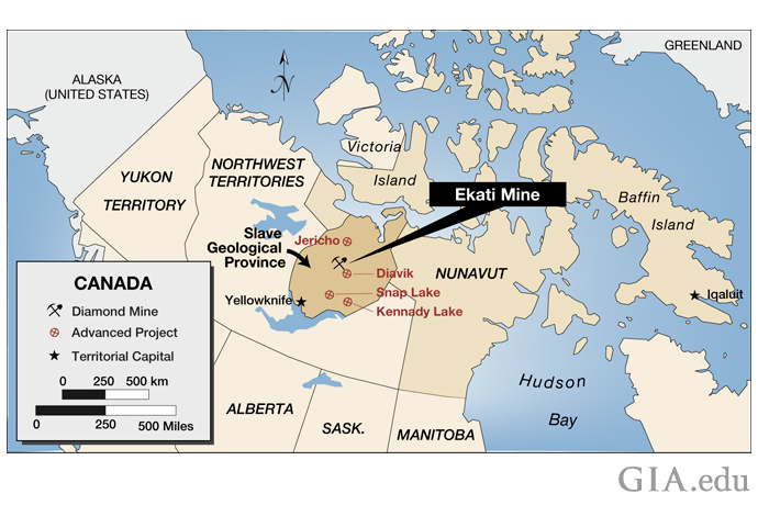 A map of mines in Canada's Northwest Territories.