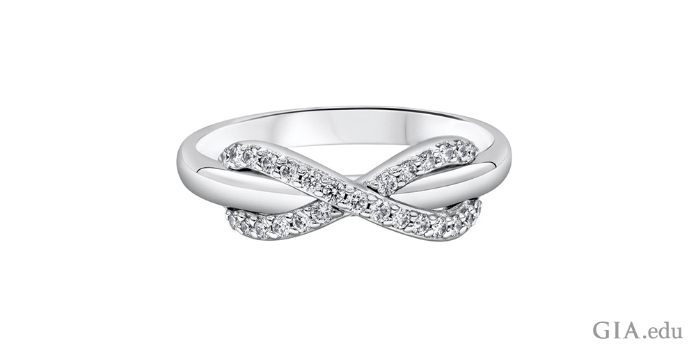 A diamond promise ring with an infinity band.