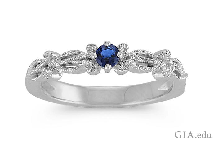 Sterling silver ring featuring a 0.13 ct sapphire.