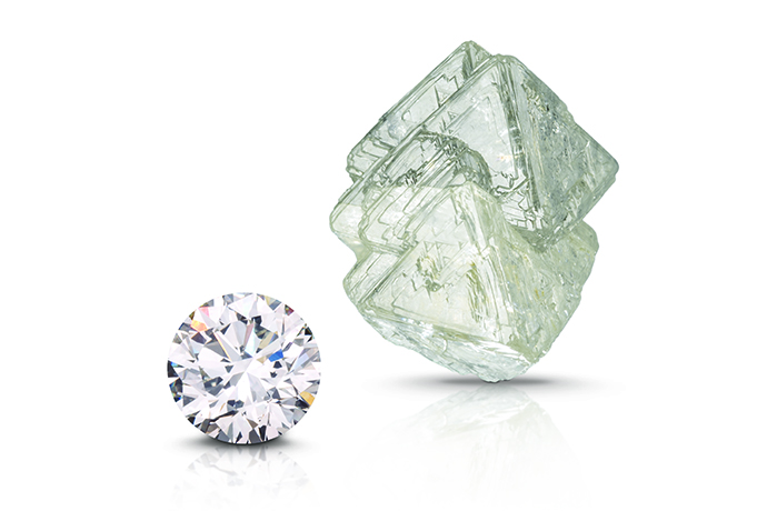 Round brilliant and diamond octahedron