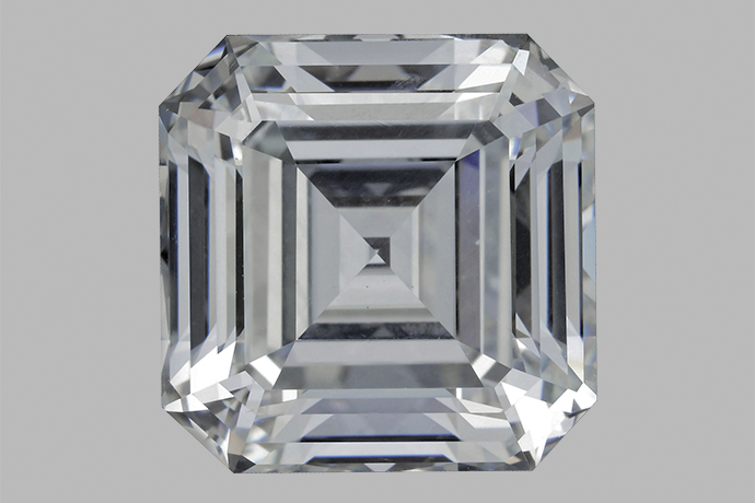 This 10.02-ct colorless emerald-cut HPHT-grown diamond is one of the largest faceted synthetic diamonds that GIA has examined.