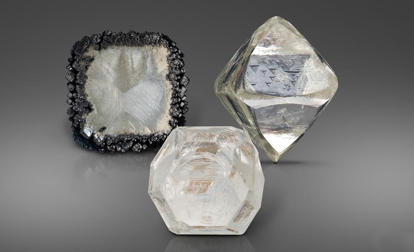 A CVD, HPHT and natural diamond crystal