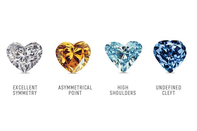 Heart-shaped colored diamonds