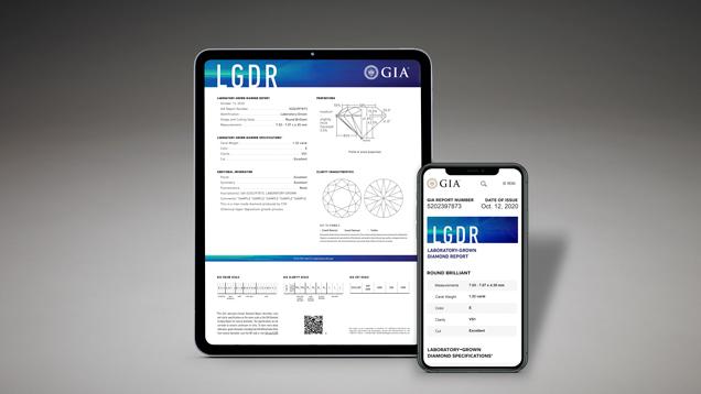 Tablet and Phone Mockup of Laboratory-Grown Diamond Report